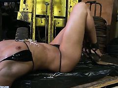 Blonde Andy Brown gets the hole between her legs rubbed by her lesbian lover Kathia Nobili