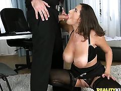James Brossman gets his always hard meat pole eaten by Brunette Sensual Jane