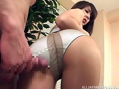 This Asian slut is so hungry for sex, that she starts showing off her panties to every guy. And you know men, when they see sexy pussy, they can't really contain their cum. The hot guys lays her down and fucks her, like a real Asian cunt should be fucked- real hard!