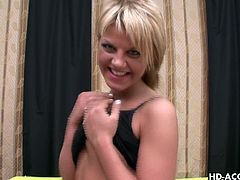 You thought it was hard for a milf to have fun? That they did not find suitors easily? If you thought so, you are wrong. They can have a lot of fun alone. Watch this sexy blonde pose in her hot skirt. Which guy would not want to fuck her? She has a perky ass and natural tits and that's all she needs. Watch this slut masturbate on her bed, with black high heels on.