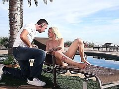 Poolside sex with pink pussy blonde Stevie Shae