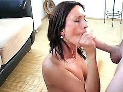 Incredibly attractive brunette Simona Style with sexy natural boobs is on her knees sucking Mark Zichas thick hard dick with enthusiasm. Her appetite for cock makes her take it in her mouth again and again.