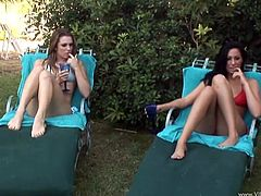 Enchanting pornstar with natural tits in bikini getting banged hardcore outdoor