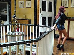 She flashes her tits to see, if that will get the guards attention. The naughty redhead heads inside he palace on a tour and soon she is in the throne room with her big breasted friend. The two babes are on their knees and sucking a hard cock.