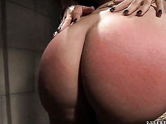 Brunette Mandy Bright with huge jugs finds herself getting her beaver rubbed by lesbian Naomie
