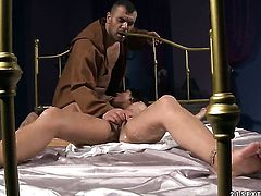 Blonde Angel Rivas warms man up and takes his worm in her pussy