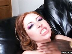 Redhead Ginger Blaze with giant melons takes mans cock up her fuck hole in interracial sex action