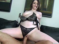 Milky white girl with arousing curves fucks a big cock dude