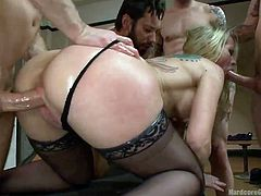 A woman's imagination can get extremely rough. Simone is about to be gang banged better than in any of her dirtiest fantasies. The blonde-haired milf seems excited to expose her lovely buttocks and fascinating tits. Click to see the slutty bitch fucked hard from behind, while sucking cock. Enjoy the details!