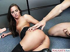 Johnny Castle admires lustful Amirah Adaras body after she takes his pole in her backdoor