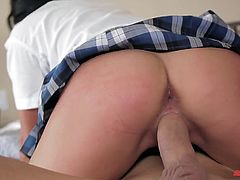 A naughty coed gets fingered and fucked by an older guy