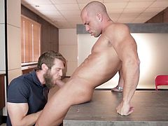 A sexy hairy bearded stud sucks a massive latin cock. Deepthroating the huge dick, repeatedly making him gag, and drool drenching the rock hard cock. Until he is layed on his back, as the muscular latin stud shoves his thick dick into the white guy's tight ass.