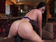Super voluptuous brunette slut Daphne Rosen with massive tits and a big fat ass, will make your jaw hit the floor, as she gets down and dirty with well hung black stud. Slut gets all holes fucked and filled with black meat!