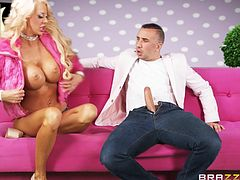 Courtney Taylor is a beautiful blonde milf, who is waiting for her prince charming to come and play with her wonderful big boobs, and fill her holes with the mighty cock. And finally her savior Keiran appears with his big cock, gets a mouthful welcome and fucks her wet pussy from behind.