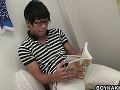 Ken is a Japanese dude who is reading a cartoon porn magazine. An Indonesian twink goes in his dorm room and barebacks him after they warm up with oral jobs.