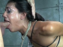 Sexy chick Lyla Storm got brutally bound in strict strappado and completely fucked