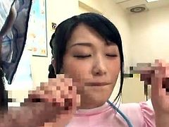 Lewd Chinese Nurse Nana Usami likes mouth-fucking 2 sausages