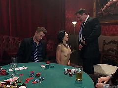 A few guys are playing cards and drinking. But the evening has much more to offer than that, as they are accompanied by a brunette attractive slut, wearing a yellow sexy dress. Click to watch the seductive horny lady undressing and exposing her crazy ass and small tits. See lusty Fallon West getting mouth fucked!