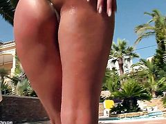 Brunette Angel Rivas touches her pussy hole playfully
