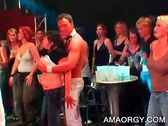 Attractive stripper gets his boner mouth fucked at CFNM orgy