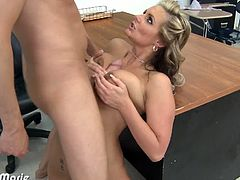 Seductively blonde in sexy lingerie Phoenix Marie gets anally fucked hard at school. Watch as her butthole got stretched before she received a big cumshot.
