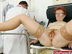Courtesy of Old Pussy Exam you can see how a horny mature gets her hairy cunt examined by a nasty doctor who's ready to make it sure it still remains fully functional!