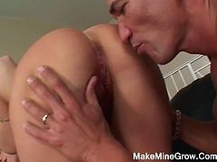 Her big boobs are bouncing as she rides his huge hard cock. She had just given him a blowjob, taking his hard shaft all the way down her throat. She likes them hard and thick as always filling her deep.