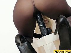 Fuckable blonde bitch with nice slim legs and hot tits covered in brown and black spandex pantyhose and even wears sheer nylons as a mask.