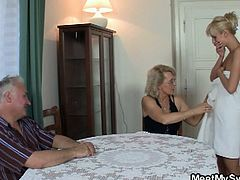 Horny old couple take advantage of their sexy blonde daughter-in law. She's taking shower and they seduce her to have a nice wtih them. The three of them end up fucking and engage in a hot threesome that you have to watch now!