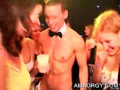 Bitches at a CFNM sex party gets fucked hard by strippers