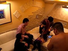 If you long to see slutty Asian bitches, dressed up in kinky costumes, dare to click! The naughty babe with long purple dyed hair undresses for a group of horny guys, who want to play with her yummy cunt and sexy nipples. Watch the charming Japanese lady sucking cock and getting banged hard!