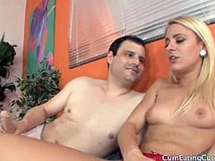 Sexy blonde babe Cameron Canada trying to seduce by hot guy with long dildo hanging on his underwear. He is jacking his dildo while this hot babe is fingering her cunt in her red undies. She opens wide her legs and let this guy lick her pussy. two weeks later Cameron surprise this guy with real cock and they do hot threesome.