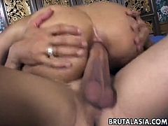 Welcoming Asian anal cave is destroyed with white huge cock