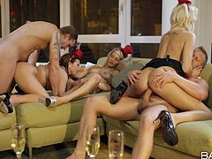 three slutty babes get banged at a party