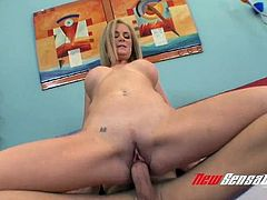 Bosomy perverted Camryn Cross jumps on strong long cock in cowgirl pose
