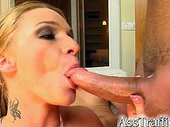 Martha is a slutty blonde with big natural tits. She takes cock straight in her ass holes and then she gets double penetrated. These guys cum in her mouth and their cum goes down her throat.