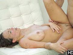 Stacy and her boyfriend are buck naked and horny as fuck, she sucks his cock deepthroat style, swallowing it, from the look on her face she seems to be enjoying a lot. Her man wants to fuck in all positions and to see her big natural tits bounce, wanna see?