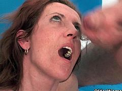 Mature moms Beth and Maria love it when their toy boy shoots his cum load into their mouth.See how these mature ladies gets naked for getting there lusty cunts fucked hard and horny mouths creamed.