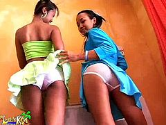 If you're fond of adorable Asian teens, don't hesitate to click! Slutty Lily feels very excited to be in such a lovely company... Her brunette friend, Joon, is dressed up in a provocative way and looks so seductive... The horny ladies begin a kinky game, that involves undressing. See the inciting rim job scene!