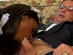 Hardcore interracial pussy drilling for super service as this horny daddy in suit enjoys drilling hot black maid pussy.