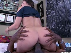 This sexy brunette chick knows, that the best taste for her is hidden in the chocolate pole. Her small tits and round ass were taken care of by the chocolate man. As she face-sit on him, he licked her pussy real good, while she gave him a superb blowjob. After that, she rode on him like a crazy cowgirl!