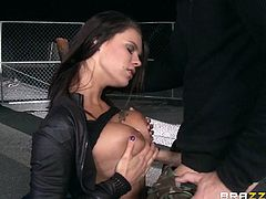 The crazy brunette with fascinating big tits loves living on the edge. She laid a blanket on the ground and enjoys spending the night outdoor in the company of her lover. The homeless couple cannot help kissing passionately. Click to see an amazing tit job. Don't miss the blowjob scene!