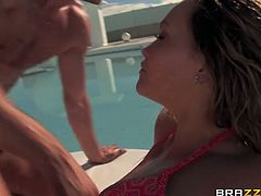 Super appetizing tanned ass is fucked hard near the pool