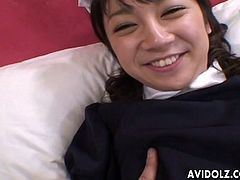 Happy Japanese housemaid gets her hairy pussy tickled by lucky man