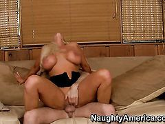 With big booty and hairless snatch fucks the cum out of James Deen s schlong with her twat