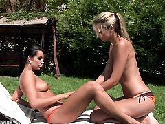 Blonde Melissa Ria makes her sex dreams a come to life with lesbian Anita