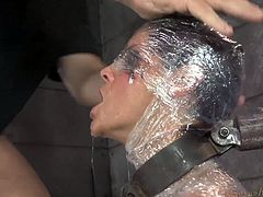 Sexy raven haired slut Syren De Mer got mummified and mouth fucked rough