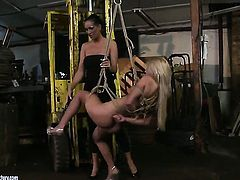 Blonde Bianka Lovely gets turned on and then tongue fucked by her lesbian lover Mandy Bright