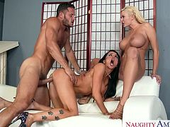 Big boobed lesbian girlfriends Romi Rain and Summer Brielle sharing a big schlong in threesome