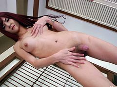 Ping is up on the bed and she bends over, to show off her pink asshole. She spreads he butt cheeks wide and stretches her asshole open as much as she can. She is inviting you to stick your cock inside her ladyboy butthole. She jerks off her skinny, long penis. Wouldn't you like to suck her ladyboy dick?